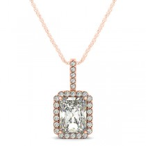 Emerald-Cut Diamond Pendant Necklace 14k Rose Gold (1.25ct)