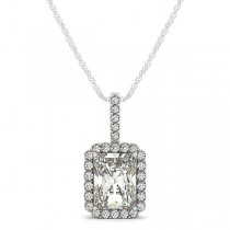 Emerald-Cut Diamond Pendant Necklace 14k White Gold (1.25ct)