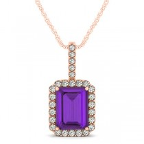 Diamond & Emerald Cut Amethyst Halo Pendant Necklace 14k Rose Gold (4.25ct)