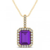 Diamond & Emerald Cut Amethyst Halo Pendant Necklace 14k Yellow Gold (4.25ct)