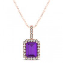 Diamond & Emerald Cut Amethyst Halo Pendant Necklace 14k Rose Gold (1.19ct)