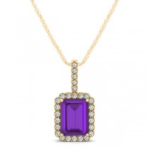 Diamond & Emerald Cut Amethyst Halo Pendant Necklace 14k Yellow Gold (1.19ct)