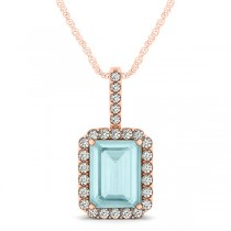 Diamond & Emerald Cut Aquamarine Halo Pendant Necklace 14k Rose Gold (3.25ct)