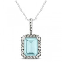 Diamond & Emerald Cut Aquamarine Halo Pendant Necklace 14k White Gold (3.25ct)