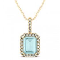 Diamond & Emerald Cut Aquamarine Halo Pendant Necklace 14k Yellow Gold (3.25ct)