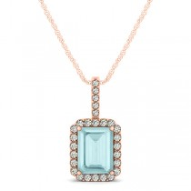 Diamond & Emerald Cut Aquamarine Halo Pendant Necklace 14k Rose Gold (1.00ct)