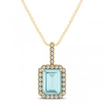 Diamond & Emerald Cut Aquamarine Halo Pendant Necklace 14k Yellow Gold (1.00ct)