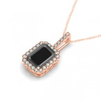 Diamond & Emerald Cut Black Diamond Halo Pendant Necklace 14k Rose Gold (4.04ct)