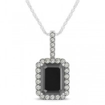 Diamond & Emerald Cut Black Diamond Halo Pendant Necklace 14k White Gold (4.04ct)