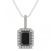 Diamond & Emerald Cut Black Diamond Halo Pendant Necklace 14k White Gold (4.04ct)