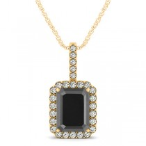 Diamond & Emerald Cut Black Diamond Halo Pendant Necklace 14k Yellow Gold (4.04ct)