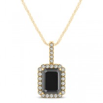 Diamond & Emerald Cut Black Diamond Halo Pendant Necklace 14k Yellow Gold (1.25ct)