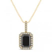 Diamond & Emerald Cut Black Diamond Halo Pendant Necklace 14k Yellow Gold (1.25ct)