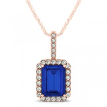 Diamond & Emerald Cut Blue Sapphire Halo Pendant Necklace 14k Rose Gold (4.25ct)