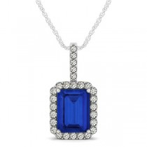 Diamond & Emerald Cut Blue Sapphire Halo Pendant Necklace 14k White Gold (4.25ct)