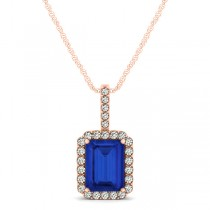 Diamond & Emerald Cut Blue Sapphire Halo Pendant Necklace 14k Rose Gold (1.34ct)