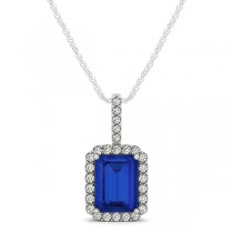 Diamond & Emerald Cut Blue Sapphire Halo Pendant Necklace 14k White Gold (1.34ct)