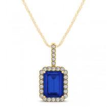 Diamond & Emerald Cut Blue Sapphire Halo Pendant Necklace 14k Yellow Gold (1.34ct)