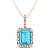 Diamond & Emerald Cut Blue Topaz Halo Pendant Necklace 14k Rose Gold (4.25ct)