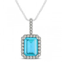 Diamond & Emerald Cut Blue Topaz Halo Pendant Necklace 14k White Gold (4.25ct)