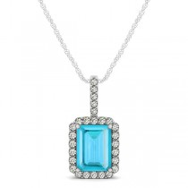 Diamond & Emerald Cut Blue Topaz Halo Pendant Necklace 14k White Gold (1.44ct)
