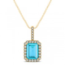 Diamond & Emerald Cut Blue Topaz Halo Pendant Necklace 14k Yellow Gold (1.44ct)