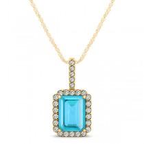 Diamond & Emerald Cut Blue Topaz Halo Pendant Necklace 14k Yellow Gold (1.44ct)