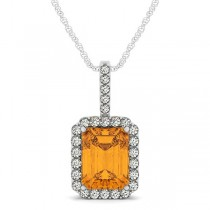 Diamond & Emerald Cut Citrine Halo Pendant Necklace 14k White Gold (4.25ct)