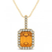 Diamond & Emerald Cut Citrine Halo Pendant Necklace 14k Yellow Gold (4.25ct)