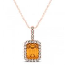 Diamond & Emerald Cut Citrine Halo Pendant Necklace 14k Rose Gold (1.19ct)