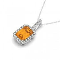 Diamond & Emerald Cut Citrine Halo Pendant Necklace 14k White Gold (1.19ct)