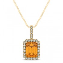 Diamond & Emerald Cut Citrine Halo Pendant Necklace 14k Yellow Gold (1.19ct)