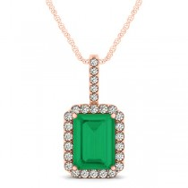 Diamond & Emerald Cut Emerald Halo Pendant Necklace 14k Rose Gold (4.25ct)