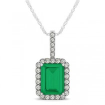 Diamond & Emerald Cut Emerald Halo Pendant Necklace 14k White Gold (4.25ct)