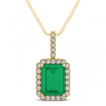 Diamond & Emerald Cut Emerald Halo Pendant Necklace 14k Yellow Gold (4.25ct)