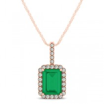Diamond & Emerald-Cut Emerald Halo Pendant Necklace 14k Rose Gold (1.09ct)