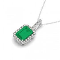Diamond & Emerald-Cut Emerald Halo Pendant Necklace 14k White Gold (1.09ct)