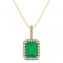 Diamond & Emerald-Cut Emerald Halo Pendant Necklace 14k Yellow Gold (1.09ct)