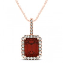 Diamond & Emerald Cut Garnet Halo Pendant Necklace 14k Rose Gold (4.25ct)