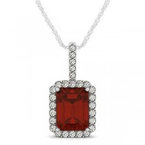 Diamond & Emerald Cut Garnet Halo Pendant Necklace 14k White Gold (4.25ct)