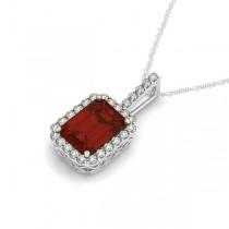 Diamond & Emerald Cut Garnet Halo Pendant Necklace 14k White Gold (4.25ct)