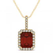 Diamond & Emerald Cut Garnet Halo Pendant Necklace 14k Yellow Gold (4.25ct)