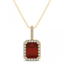 Diamond & Emerald Cut Garnet Halo Pendant Necklace 14k Yellow Gold (1.39ct)