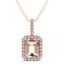Diamond & Emerald Cut Morganite Halo Pendant Necklace 14k Rose Gold (4.25ct)