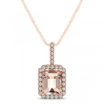 Diamond & Emerald Cut Morganite Halo Pendant Necklace 14k Rose Gold (1.09ct)