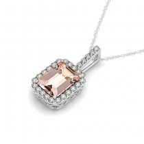 Diamond & Emerald Cut Morganite Halo Pendant Necklace 14k White Gold (1.09ct)