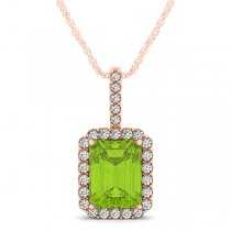 Diamond & Emerald Cut Peridot Halo Pendant Necklace 14k Rose Gold (4.25ct)
