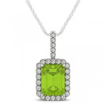 Diamond & Emerald Cut Peridot Halo Pendant Necklace 14k White Gold (4.25ct)