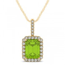 Diamond & Emerald Cut Peridot Halo Pendant Necklace 14k Yellow Gold (4.25ct)