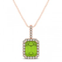 Diamond & Emerald Cut Peridot Halo Pendant Necklace 14k Rose Gold (1.19ct)